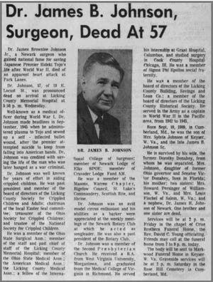 The front page obituary for James B. Johnson, the Newark doctor who saved the life of Hideki Tojo after World War II.