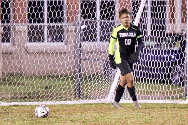 Pensacola freshman goalie Jaden Fernandez prepares for a goal kick in an  undated photograph.
