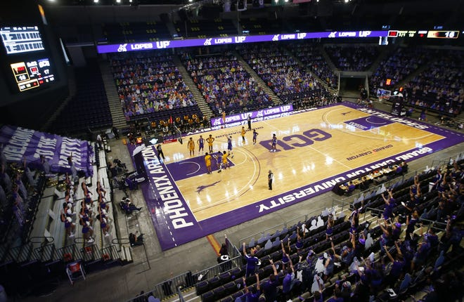ASU plays GCU during the first half at Grand Canyon University in Phoenix, Ariz. on Dec. 13, 2020.