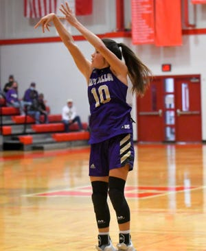 San Saba High School's Brighton Adams puts up a shot during a game against Holliday on Friday, Nov. 20, 2020, in Holliday.