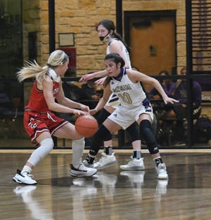 San Saba High School's Brighton Adams guards Christoval's Allison Vaughn during a high school girls basketball game Tuesday, Dec. 1, 2020, at San Saba High School.