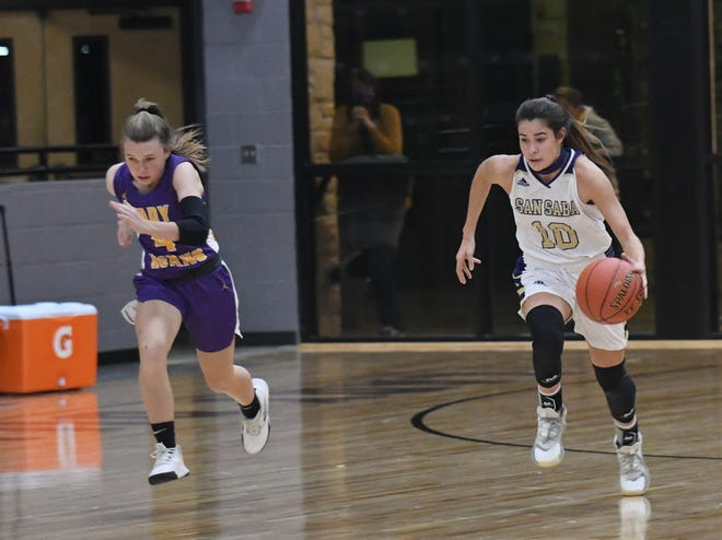 San Saba High School's Brighton Adams pushes the ball up the court ahead of an Early defender during a high school girls basketball game Friday, Dec. 4, 2020, in San Saba.