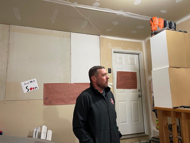 Brandon Valley football coach Chad Garrow stands in his garage on Dec. 15, 2020. Garrow's coaching staff cleaned out and completed the interior of his garage earlier this month.