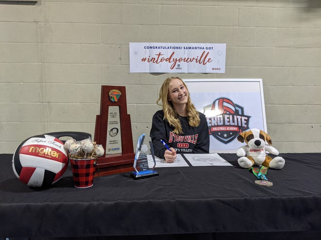Lincoln Park Academy senior Samantha Killane signed to continue her volleyball career at D'Youville College in Buffalo, becoming the first athlete to sign a letter of intent since the school transitioned to the Division II level in July.