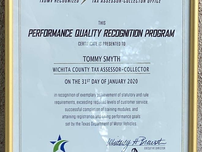 The Wichita County Tax office earned the gold-level award in the Performance Quality Recognition Program.