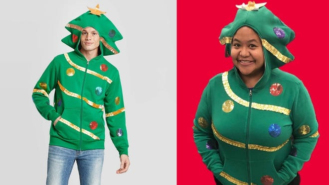 Be prepared to inspire smiles all around you when you show up looking like a Christmas tree.
