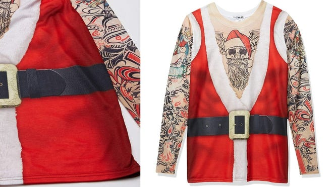 Give Bad Santa a new meaning with sleeves of bold tattoos.