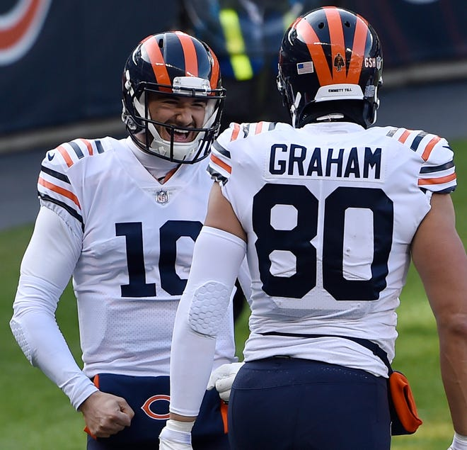 Why is Bears quarterback Mitch Trubisky is smiling? Chicago still has a chance to make the NFL playoffs.