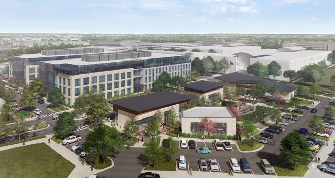 Development company Accesso Partners plans to transform a 129-acre office campus at 7700 Parmer Lane in Austin into a mixed-use development. An artist's rendering shows part of the vision for the site.
