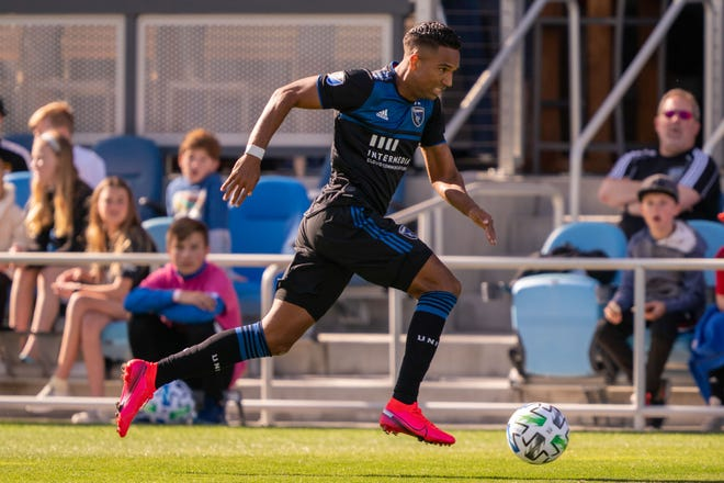Former San Jose Earthquakes forward Danny Hoesen drives the ball down the field during a match versus Toronto FC last season. The Dutch striker was the first pick of the Major League Soccer expansion draft by Austin FC.