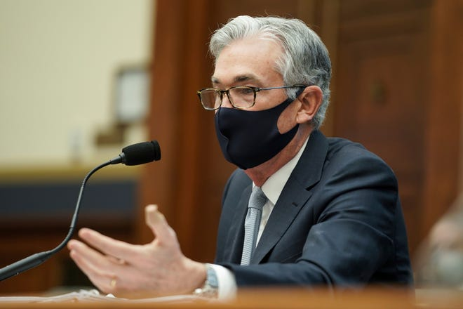 Federal Reserve Chairman Jerome Powell testifies before a House Financial Services Committee hearing on Capitol Hill in Washington on Dec. 2, 2020.