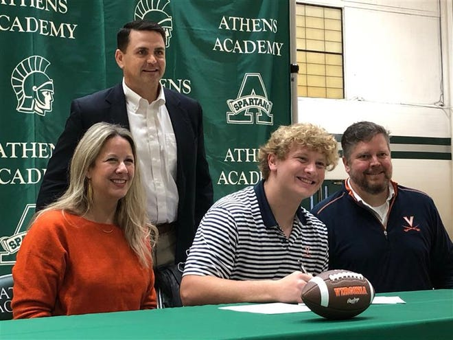 Athens Academy's Hugh Laughlin signs with Virginia on Dec. 16, 2020.
