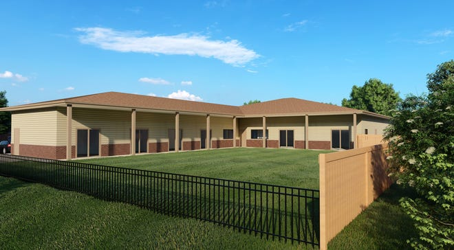 This is an artist rendering of the courtyard at Grace House Akron, a hospice for the homeless and those without caregivers.