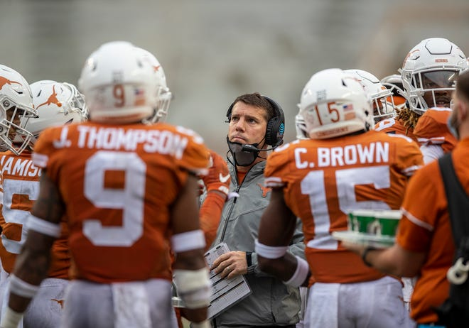 Texas defensive coordinator Chris Ash coaches during the fourth quarter of a game against Iowa State on Nov. 27, 2020 in Austin.