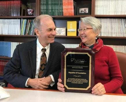Hepatitis B Foundation co-founders Joan Block, R.N., and Timothy M. Block, Ph.D., were presented with an honor Nov. 14 during The Liver Meeting, the annual meeting of the American Association for the Study of Liver Diseases, or AASLD.  [PHOTO PROVIDED]