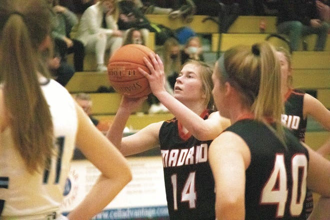 Madrid's Ella Santi shoots the ball during a game against Des Moines Christian on Tuesday, Dec. 15, 2020.