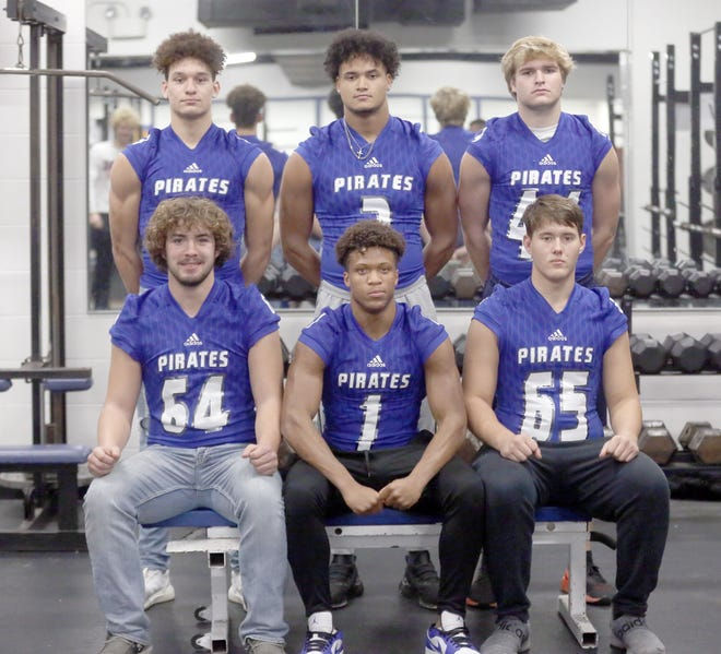 The Boonville Pirates football team had six players recently selected to the coaches all-district football team for the 2020 season. Boonville finished the season at 6-4 overall and 3-3 in the Tri-County Conference. Players selected to the coaches all-district team were (front row, left to right) Harper Stock, DaWan Lomax and Peyton Hahn. (back row, left to right) Jamesian Mckee, D.J. Wesolak and Lane West.