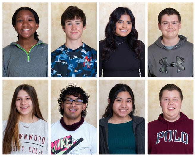 (Brownwood High School announced the November Students of the Month. Top from left: Sydney Stewart, Evan Fraze, Mia Lopez, Eli Goodrich. Bottom, (Bottom, Destynee Gomez, Tommy Perez, Leticia Cervantes, Jonathan Hagood