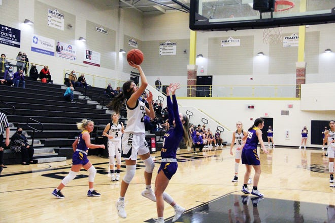 Brittany Harshaw goes up for a shot against Valley Center on Tuesday, Dec. 15 at Andover High School. The Creighton commit had 29 points in the 62-50 win over Valley Center.
