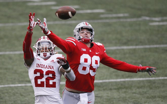 Ohio State tight end Luke Farrell (89), the Jaguars' fifth-round draft pick, caught only five passes for 37 yards in eight games last season.