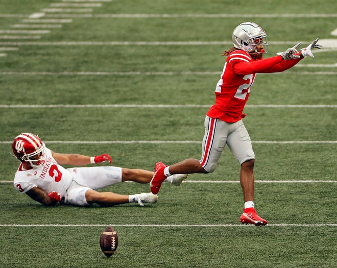 Ohio State cornerback Shaun Wade (24), here breaking up a pass against Indiana, is the first OSU defensive back to be named the Big Ten's best in a season.