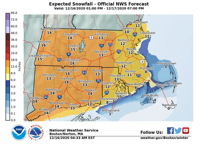 Snowfall totals for Wednesday into Thursday