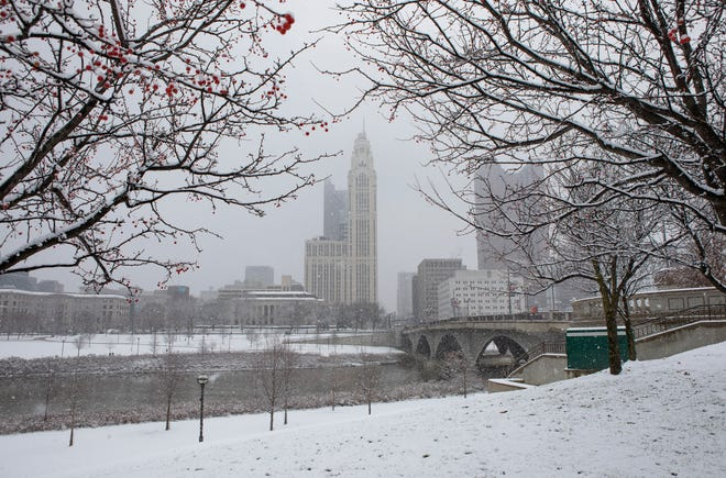 Columbus could look like this on Christmas, according to the latest forecast. This scene is from Dec. 16, when Downtown became a snow-globe scene.
