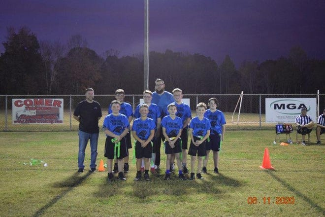 The Friendship Panthers were runners-up in the 2020 U12 flag football Super Bowl. Team members are (front row, from left) Miller Richardson, Ayden Brooks,Chase Hamby, Zackery Morris; (back row) Coach-Jeremy Pierce, Cameron Eller, Mason Pierce, coach Sam Banks, Maddox Tucker and Jackson Brown.