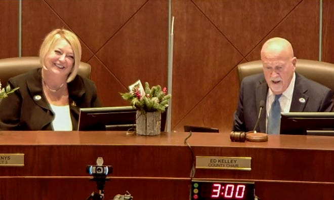 County Council Member Deb Denys and County Chair Ed Kelley at their last meeting as members of the Volusia County Council.