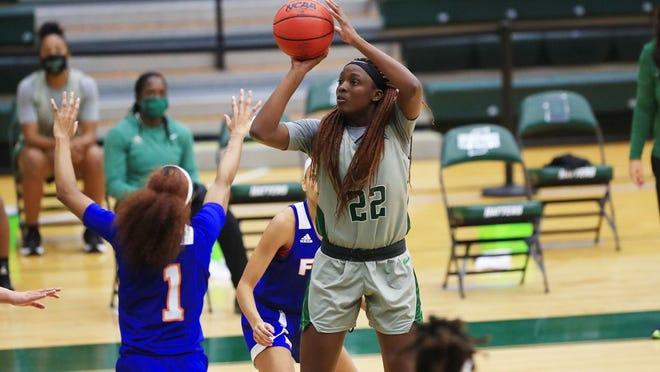 Shania Edgecomb (22) scored 10 points and grabbed 10 rebounds in the host Stetson women's 75-52 victory over Florida Memorial on Tuesday, Dec. 15, 2020, at the Edmunds Center in DeLand.