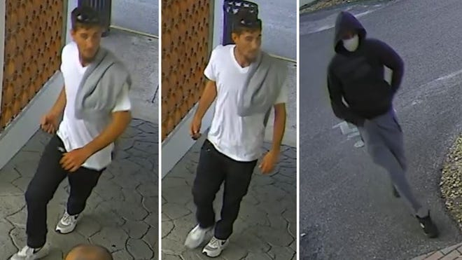 Photos from a surveillance video show the suspects in the beating and robbery of a physically disabled man in downtown DeLand. Police are asking for the public's help in identifying the suspects.
