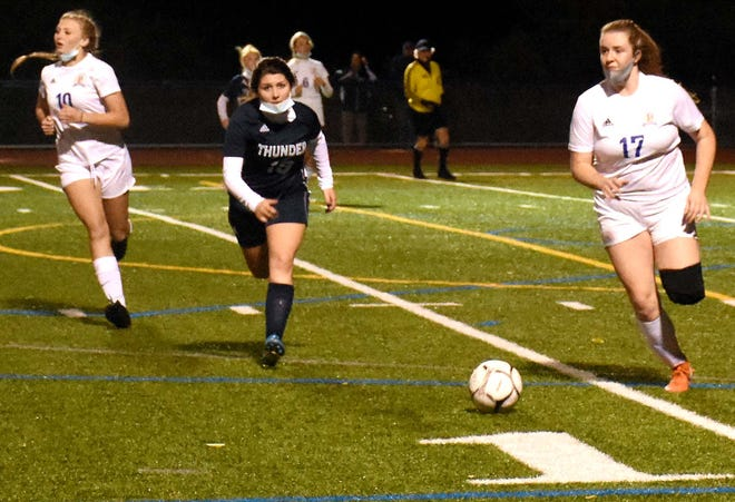 Poland senior Amanda Sweet (17), pictured playing against Central Valley Academy Oct. 7, was a repeat first-team selection for the NYSSCOGS Class D girls' all-state soccer team. Teammates Alexis Bates and Logan Cookinham were also first-team selections while Jason Potempa was named Coach of the Year in his first season.