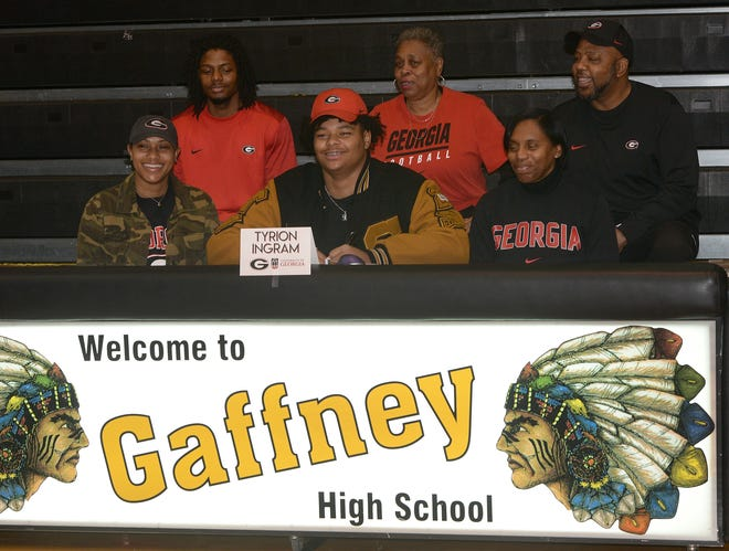 Gaffney football stand out, Tyrion Ingram-Dawkins, signs a letter of intent to play college football at the University of Georgia during a ceremony at Gaffney High school on Wednesday Dec. 16, 2020.