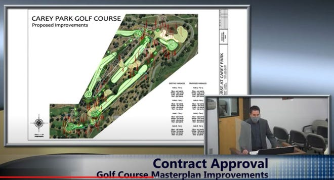 City of Hutchinson parks director Justin Combs explained planned improvements at the municipal Carey Park Golf Course under a contract awarded by the city council on Tuesday.