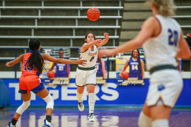 Frenship's Elena Noyola (2) passes the ball upcourt against San Angelo Central on Tuesday, Dec. 15, 2020, at the Tiger Pit in Wolfforth, Texas.
