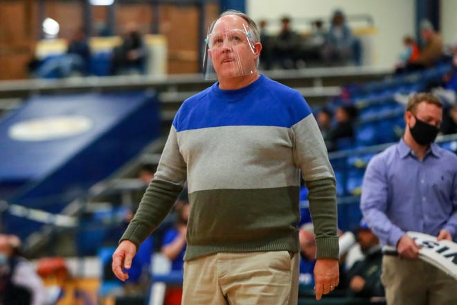 Frenship head coach Trent Hilliard looks at the scoreboard during the District 2-6A game against San Angelo Central on Dec. 15 at the Tiger Pit in Wolfforth. Hilliard reached 400 career wins after the Tigers' 74-46 victory over Monterey on Tuesday.
