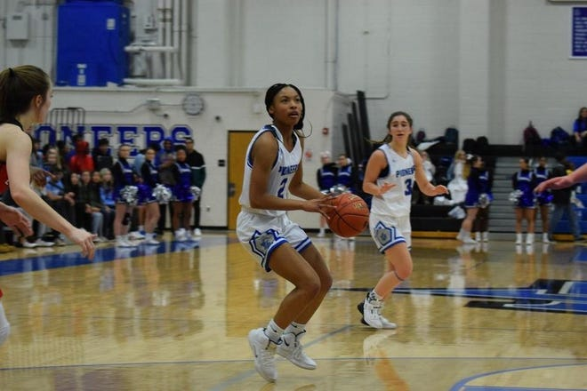 Shown is Leavenworth girl's basketball senior guard Aleshia Jones. Jones joined the 1,000 point club Tuesday, reaching the milestone in the Lady Pioneers' 71-28 loss to Shawnee Mission Northwest