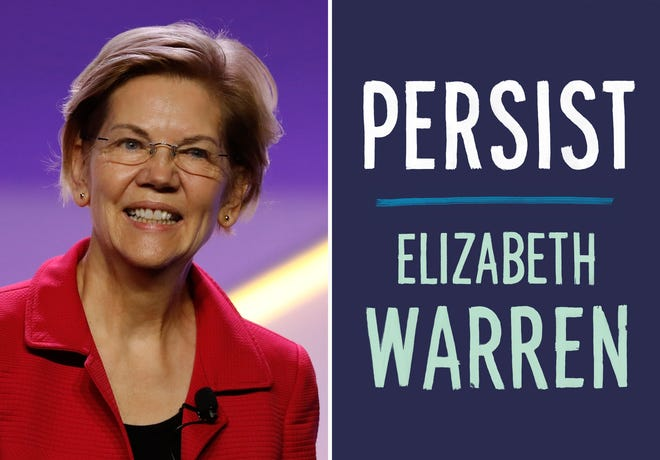 """This combination photo shows Sen. Elizabeth Warren, D-Mass., at the 110th NAACP National Convention on July 24, 2019, in Detroit and the cover of her book """"Persist."""""""
