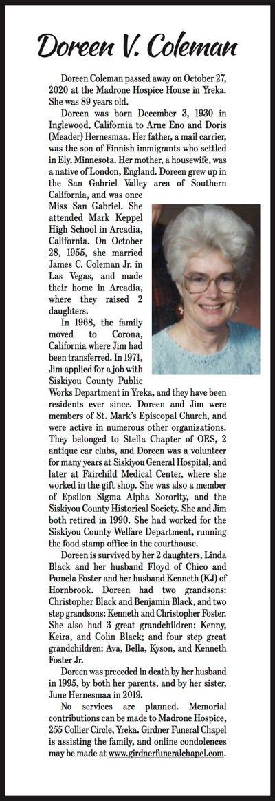 Obituaries in Mt Shasta, CA   Mount Shasta Herald