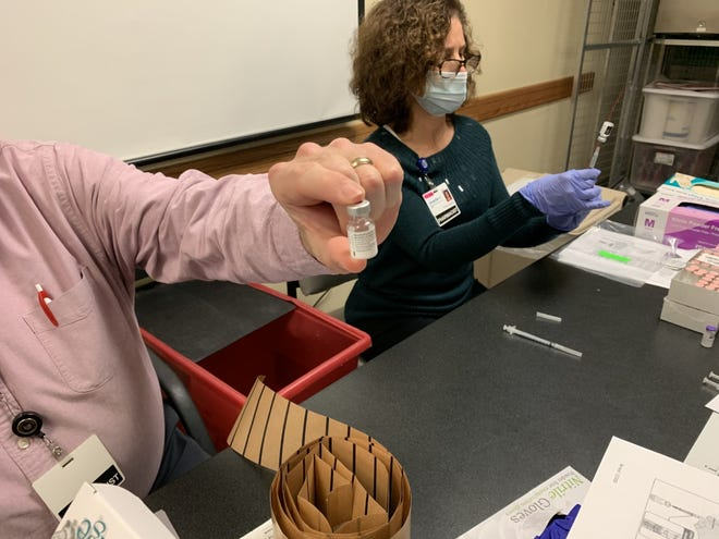 A look at the Pfizer vaccine vial being used within the Mohawk Valley Health System.