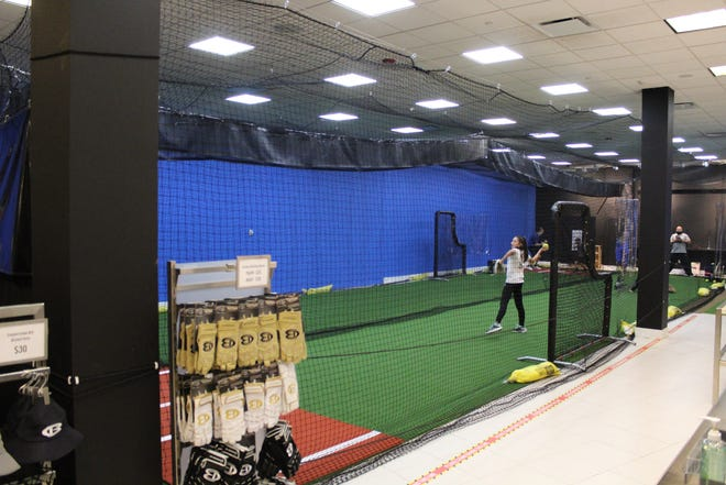 The Utica Blue Sox Training Academy features two 70-foot batting cages. The facility is located in the Sangertown Square mall in New Hartford.