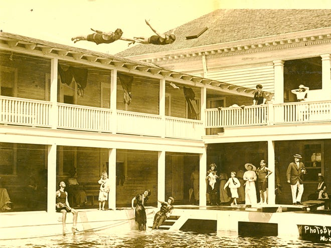 Swimmers dive into the first Casino, which was improved over the years.