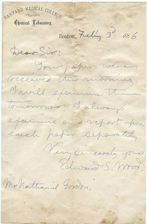 A letter from Dr. Edward S. Wood of Harvard Medical College to Nathaniel Gordon who had requested he examine samples of the wallpaper in his home, which he thought may be toxic.