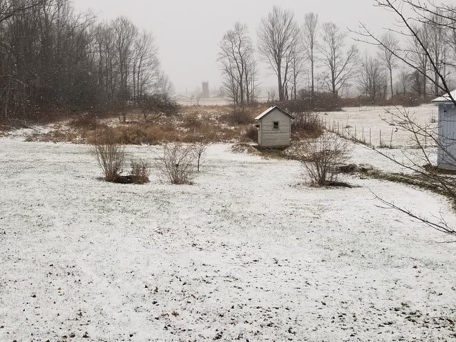 Snow falls in Waymart. Much of northeastern Pennsylvania will see the start of a nor'easter on Wednesday afternoon.