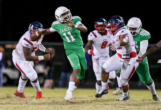 Atlantic quarterback Guenson Alexis was responsible for five touchdowns during the Eagles' 46-21 defeat or Miramar last Friday in Delray Beach.