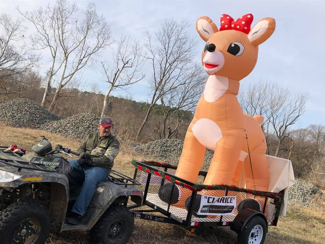 """The """"Clarice"""" inflatable getting ready to appear in the parade during the Old Towne Christmas festival in Petersburg on Dec. 21, 2019."""