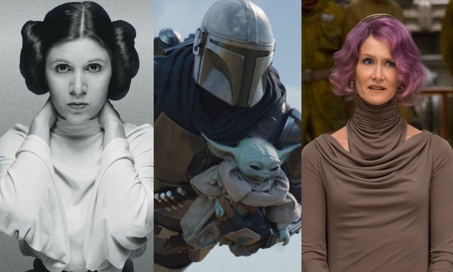 """Carrie Fisher (left to right), Disney+ series """"The Mandalorian"""" and Laura Dern are among the """"Star Wars"""" actors and characters that have ties to Wilmington."""