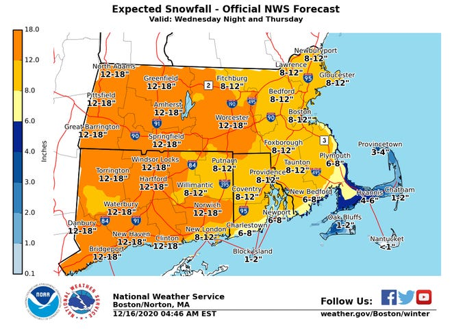 National Weather Service snowfall predictions