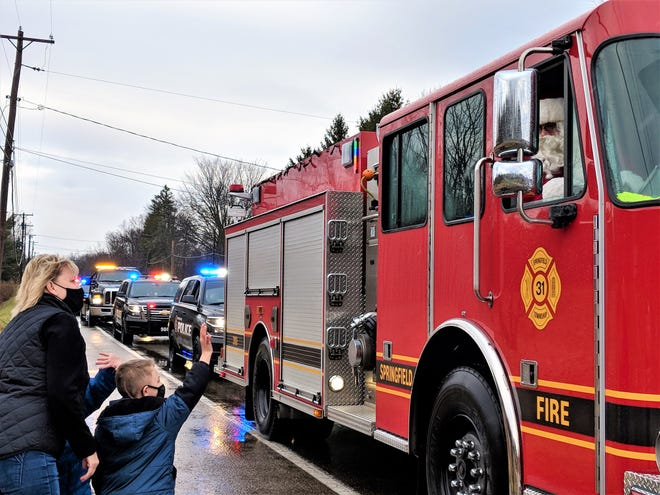 Santa greeted children from one of Springfield Township's fire trucks during the 2020 Shop with a Cop event.