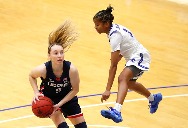 Seton Hall guard Lauren Park-Lane (3) defends against UConn guard Paige Bueckers (5) during the second half of an NCAA basketball game on Tuesday in South Orange, N.J. [AP Photo/Noah K. Murray]
